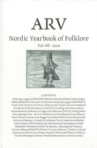 Arv - Nordic Yearbook of Folklore Vol. 66 - 2010